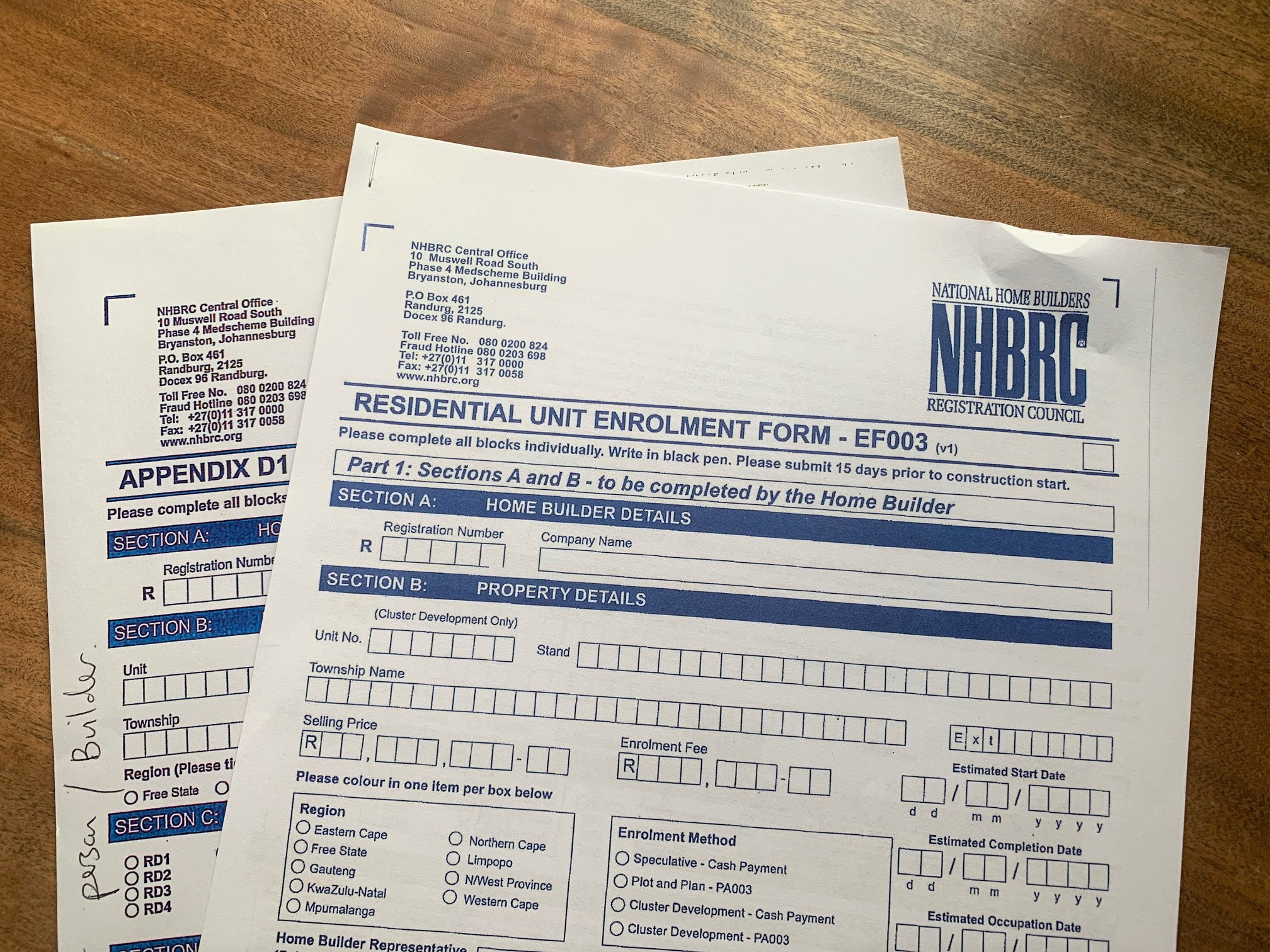 NHBRC enrollment forms